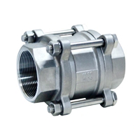 SS316 3 Piece Spring Loaded Check Valve Threaded
